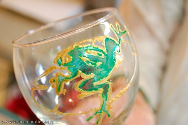 glass painting frog